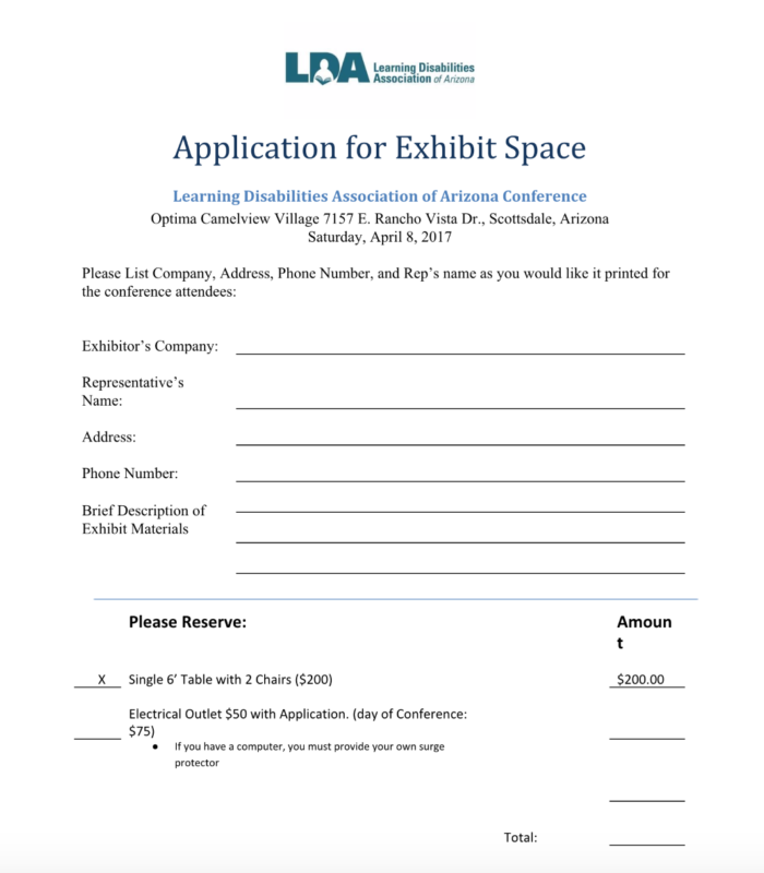 LDA Exhibitor Form